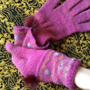 Anthropologie Accessories - Mink Puff Ball Pink Mittens